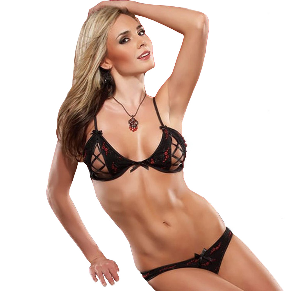 Embroidered Mesh Peek A Boo Bra and Panty Set Medium Black/Red - View #1