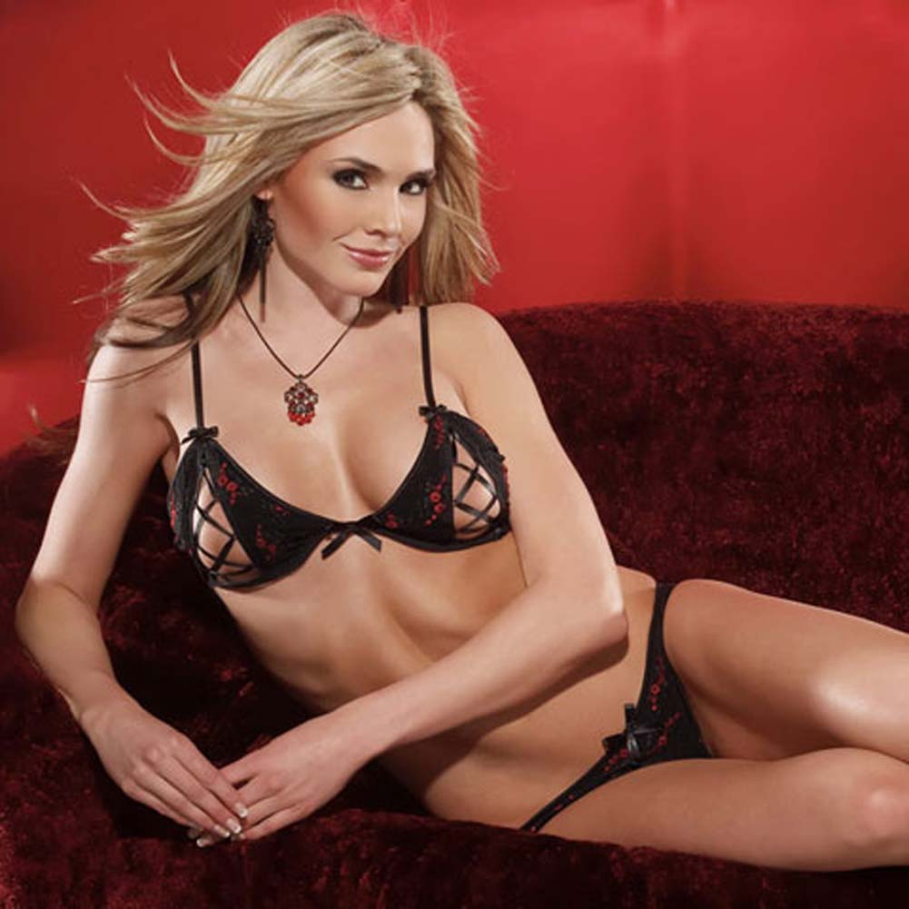 Embroidered Mesh Peek A Boo Bra and Panty Set Medium Black/Red - View #3