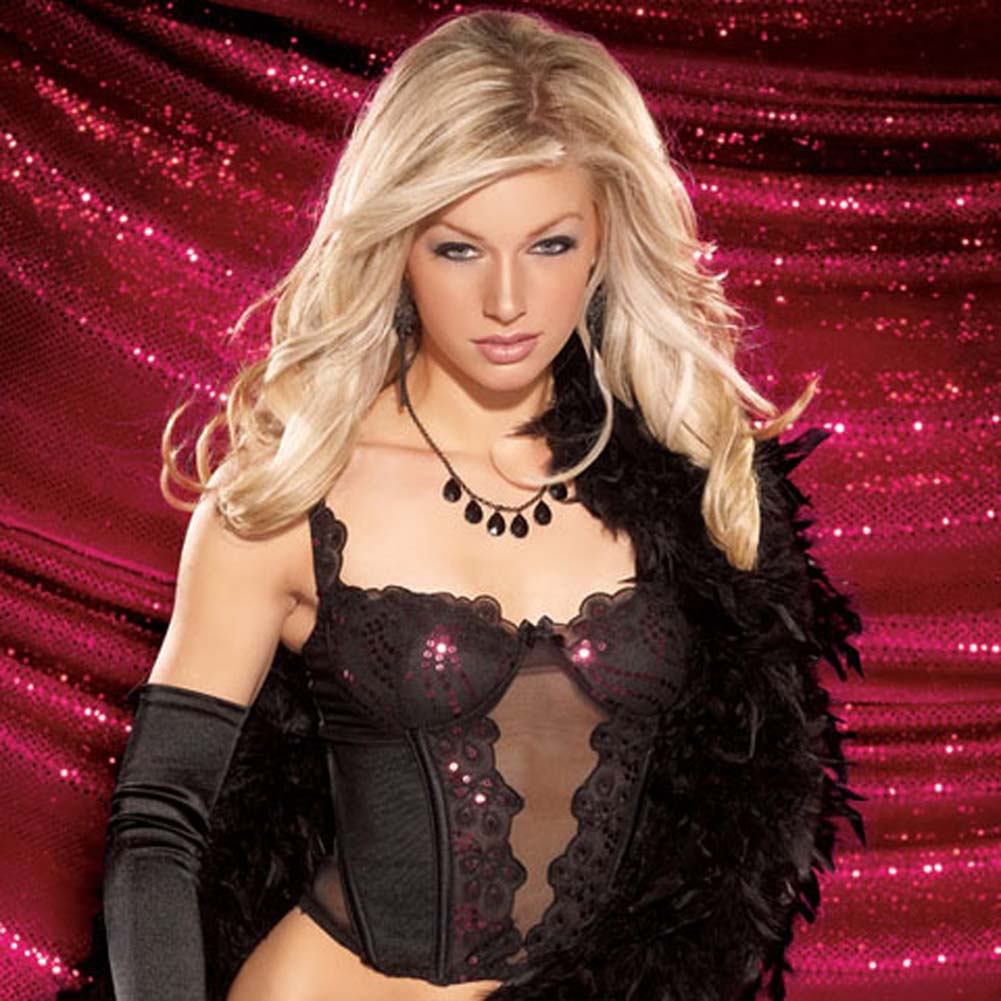 Sequin Lace Mesh Bustier and G-String Set Medium Black - View #3