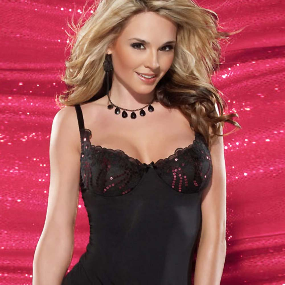 Microfiber Chemise and G-String Set Large - View #3