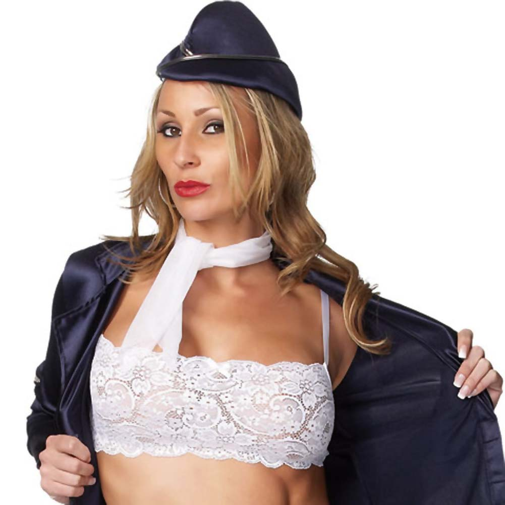 Flight Attendant 5 Piece Costume for Women Small/Medium Navy Blue - View #4