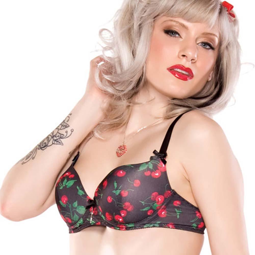 Penthouse Cherry Leaf Moulded Bra Small Cherry Print/Black - View #1