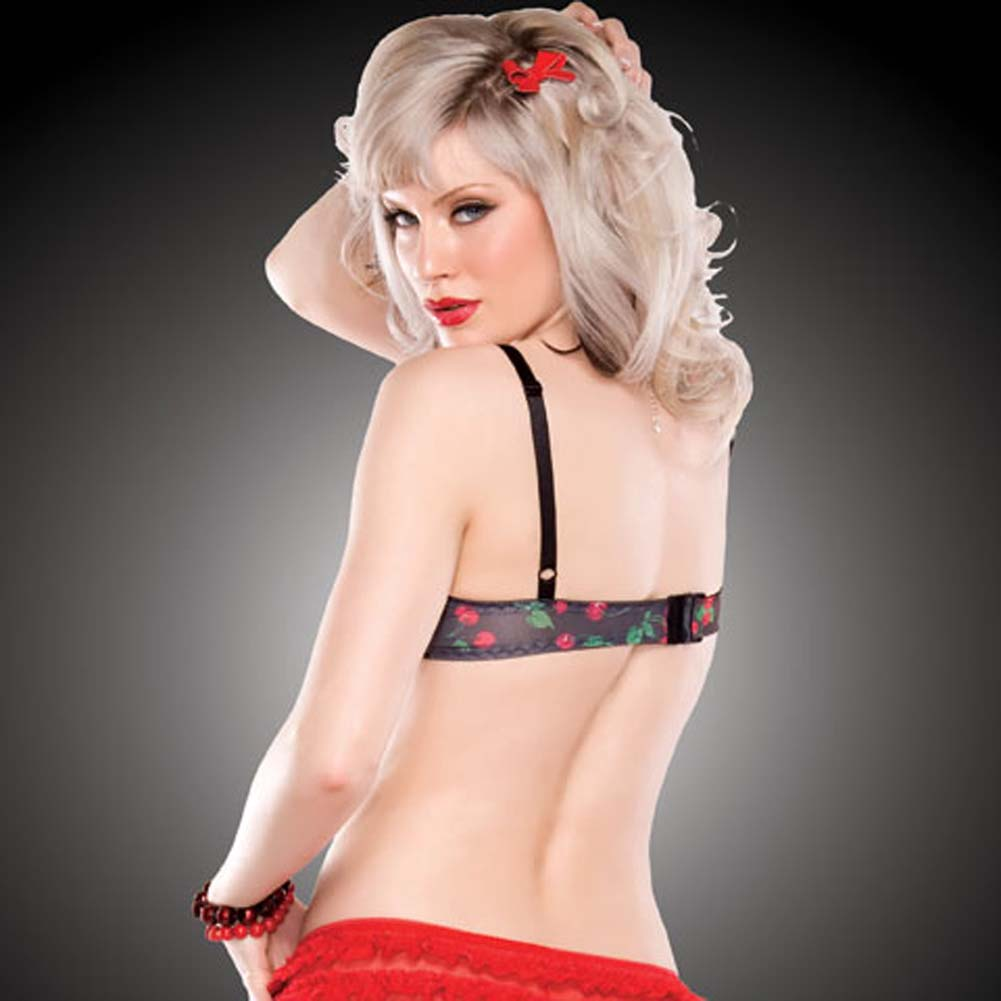 Penthouse Cherry Leaf Moulded Bra Small Cherry Print/Black - View #2