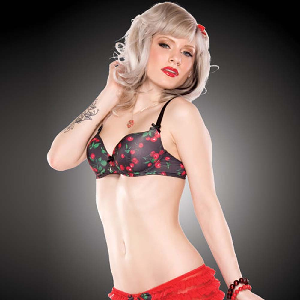 Penthouse Cherry Leaf Moulded Bra Small Cherry Print/Black - View #3