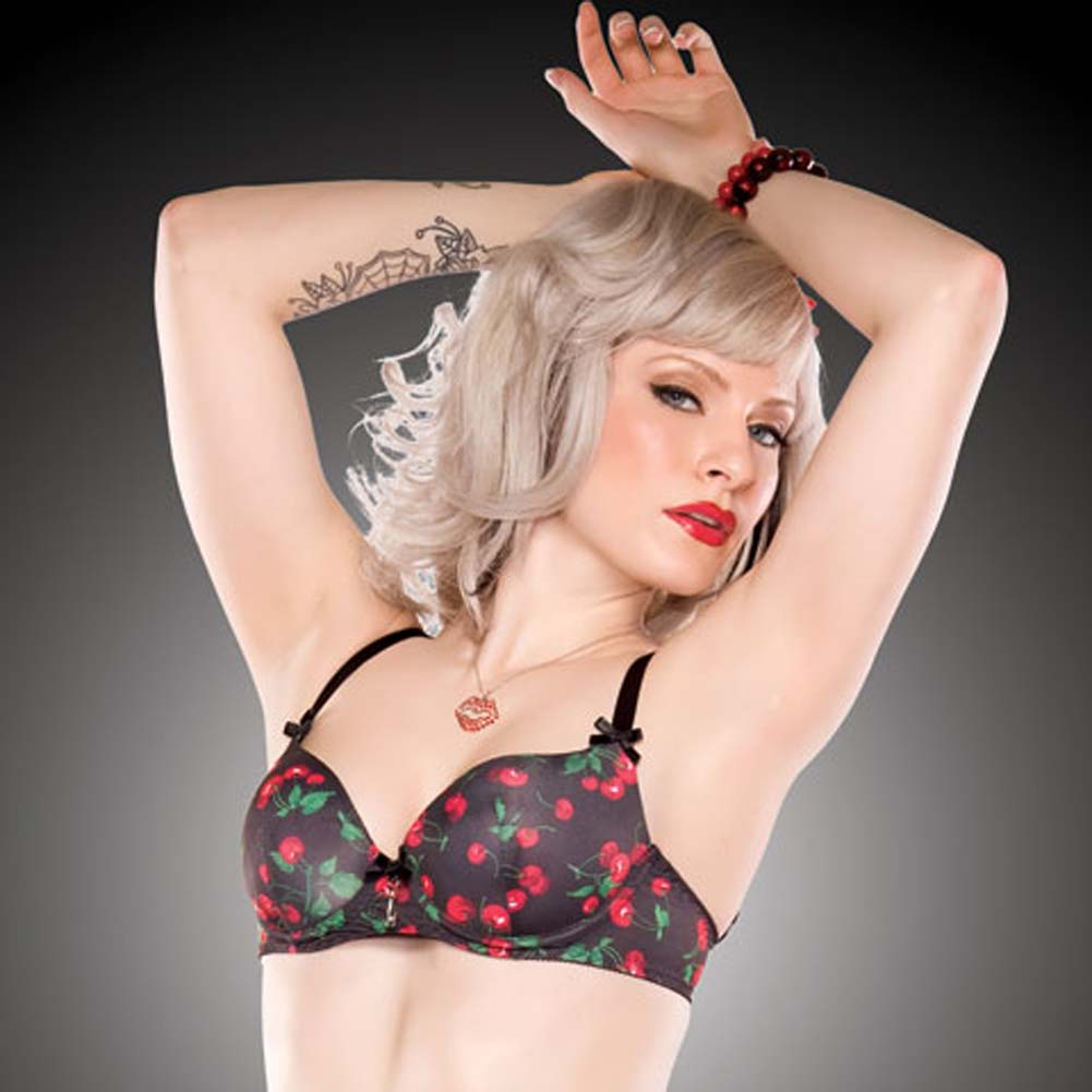 Penthouse Cherry Leaf Moulded Bra Small Cherry Print/Black - View #4