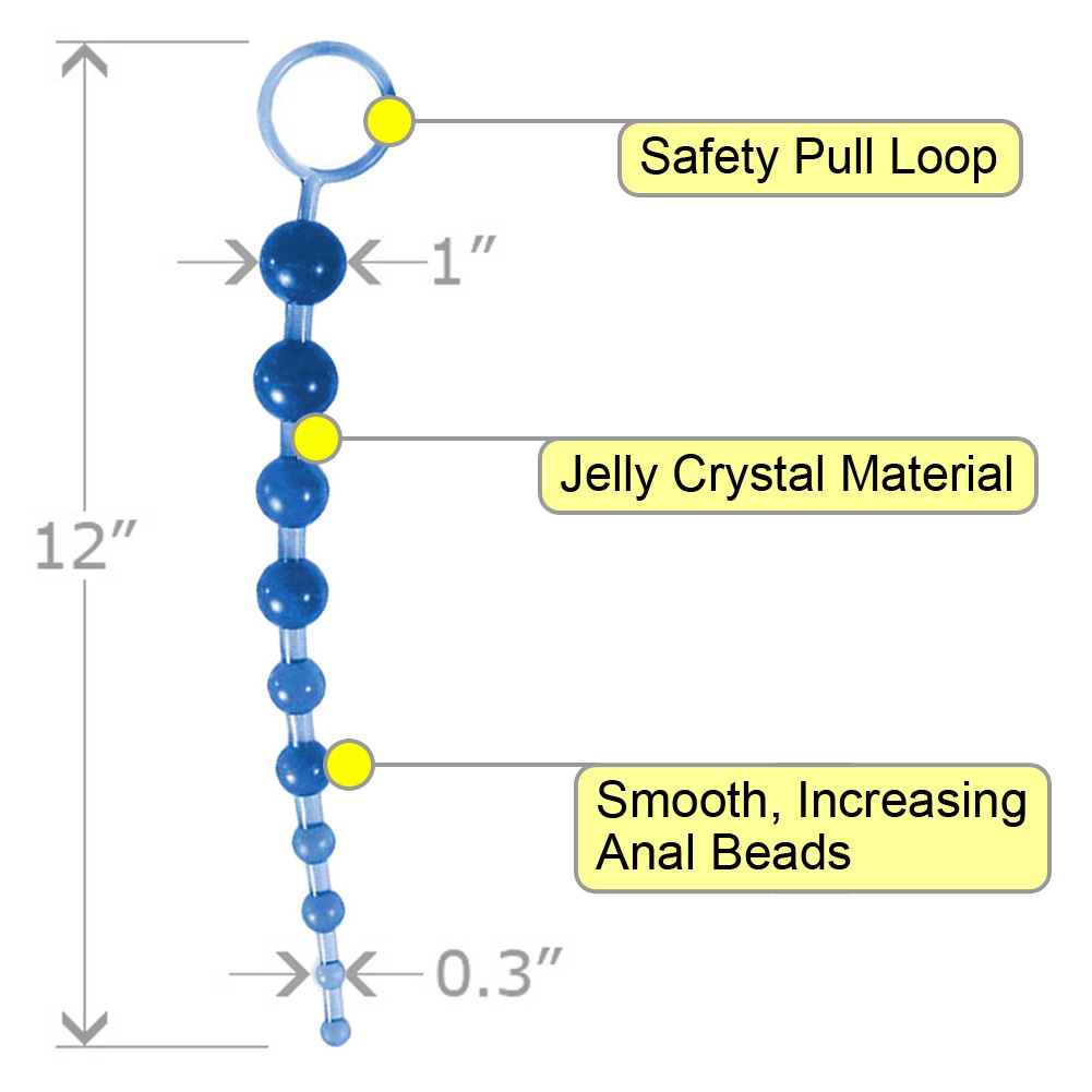 """OptiSex Love Beads with Safety Pull Loop 11"""" Deep Blue - View #1"""