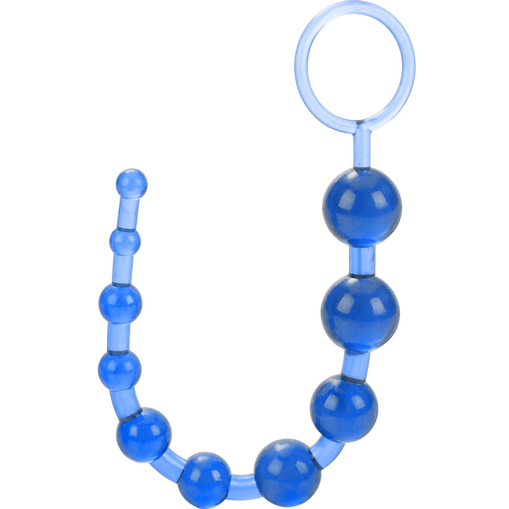 """OptiSex Love Beads with Safety Pull Loop 11"""" Deep Blue - View #3"""