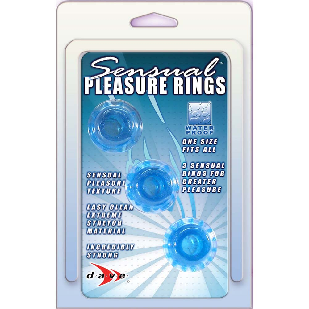 Man Strength Sensual Pleasure Erection Jelly Rings 3 Pack Blue - View #3