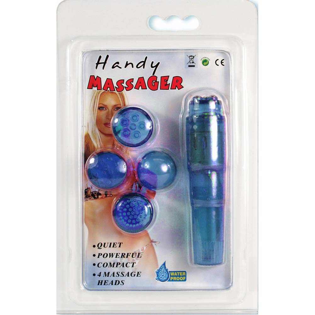 """Handy Vibrating Massager With 4 Stimulating Heads 4"""" Blue - View #3"""