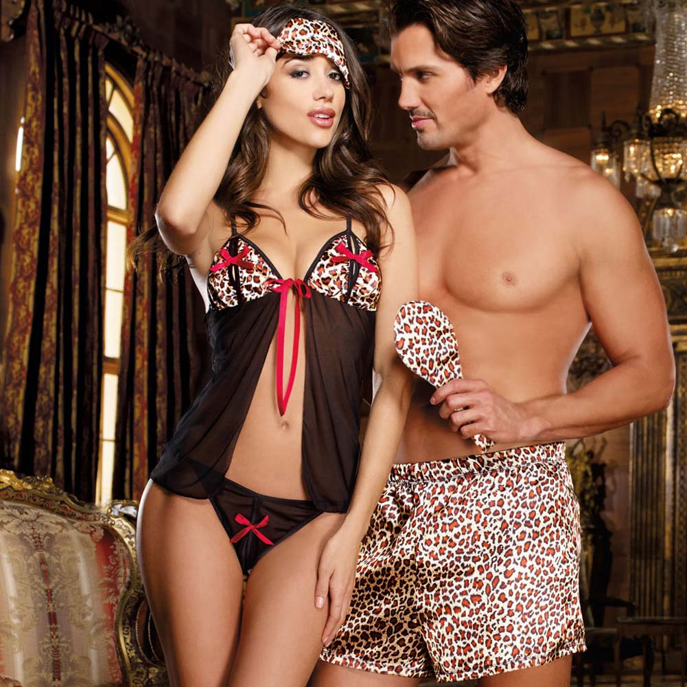 Jungle Cat Babydoll Set with Secret Slits and Blindfold One Size Leopard Print - View #2