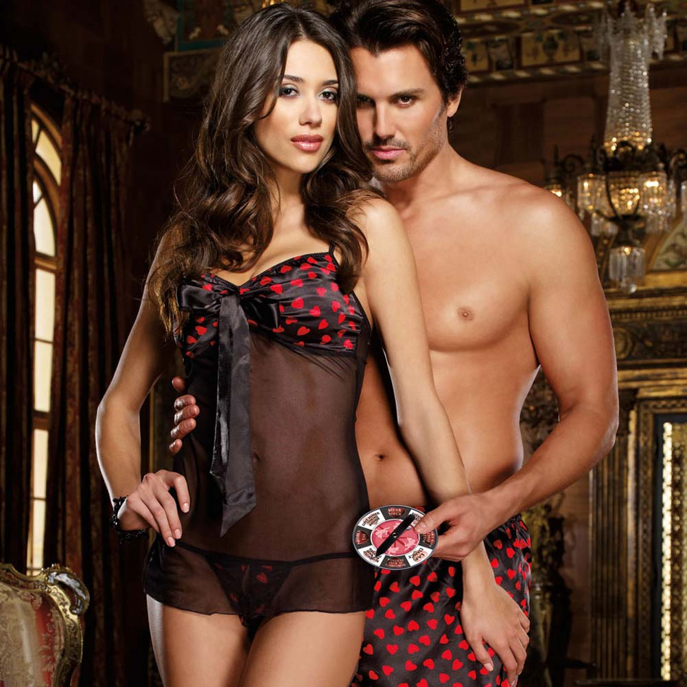 Blowin Kisses Babydoll Set with Lovers Spinner Game One Size Black - View #2