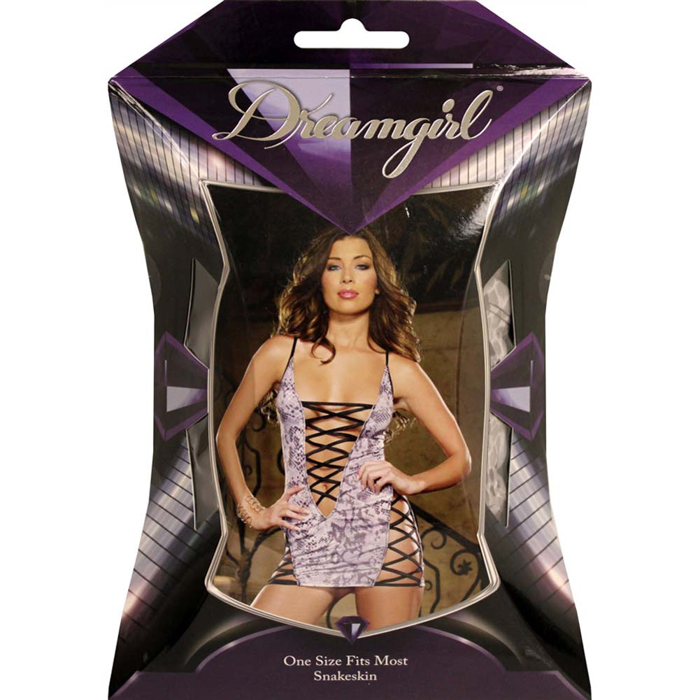 Glimmering Lace Up Chemise with Thong One Size Snakeskin Print - View #4