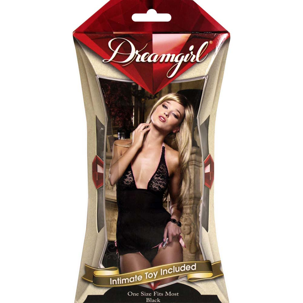 Pleasure Panty Babydoll Set with Intimate Toy One Size Black - View #4