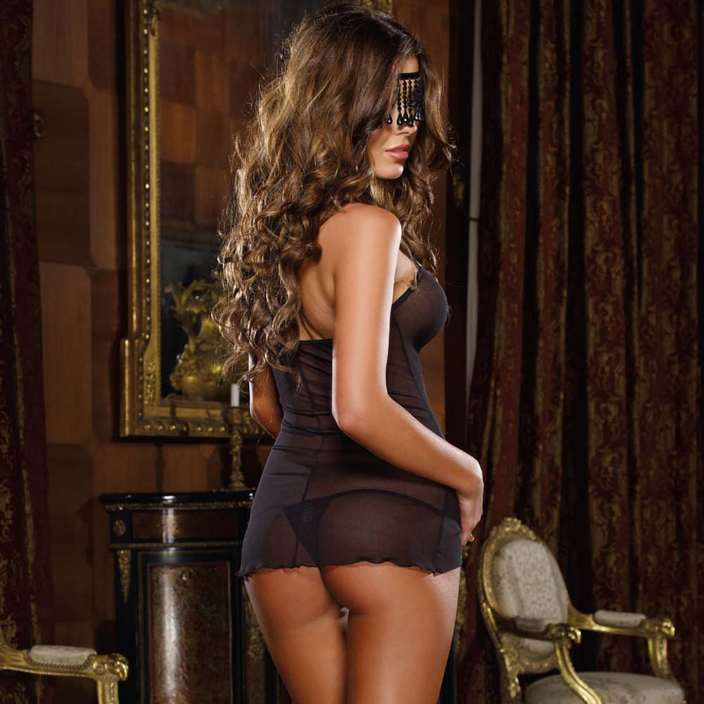 Naughty Fringe Chemise Set with Panty and Mask One Size Black - View #2