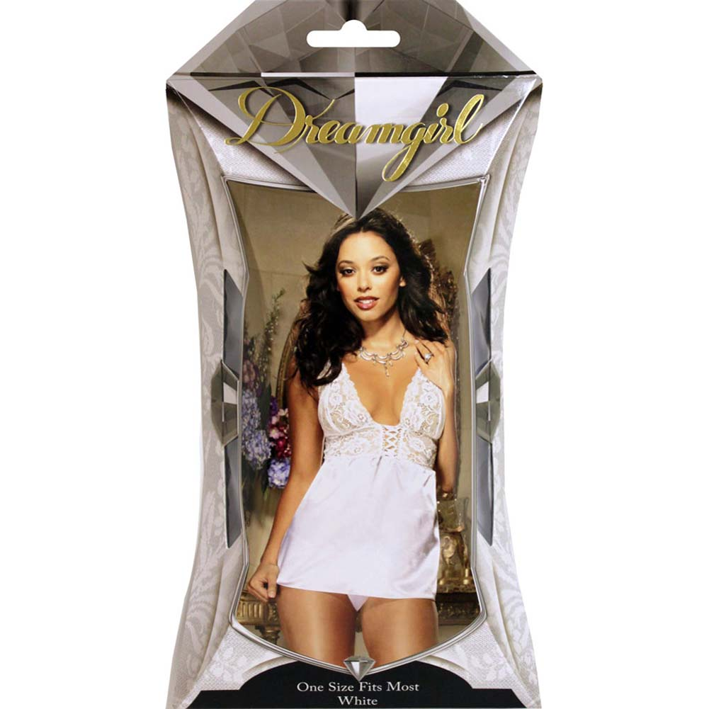 Dreamgirl Nights to Remember Babydoll and Panty Set One Size White - View #4