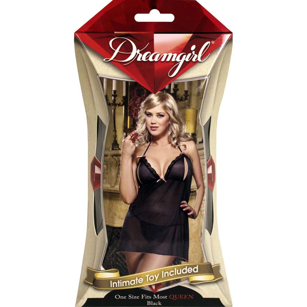 Make Me Flutter Babydoll and Thong with Adult Toy Plus Size Black - View #4