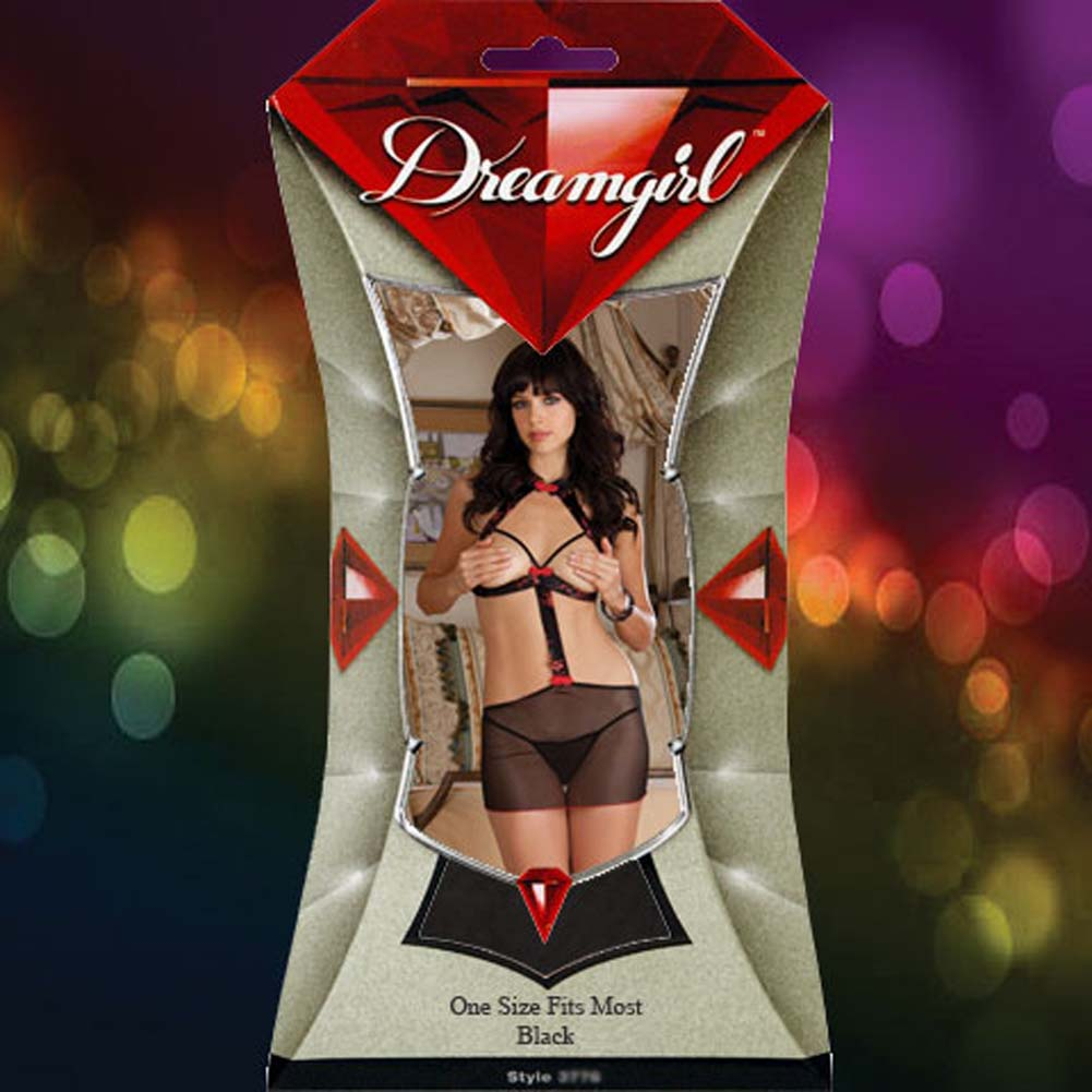 Dreamgirl Bangkok Beauty Cupless Chemise Set One Size Red/Black - View #4