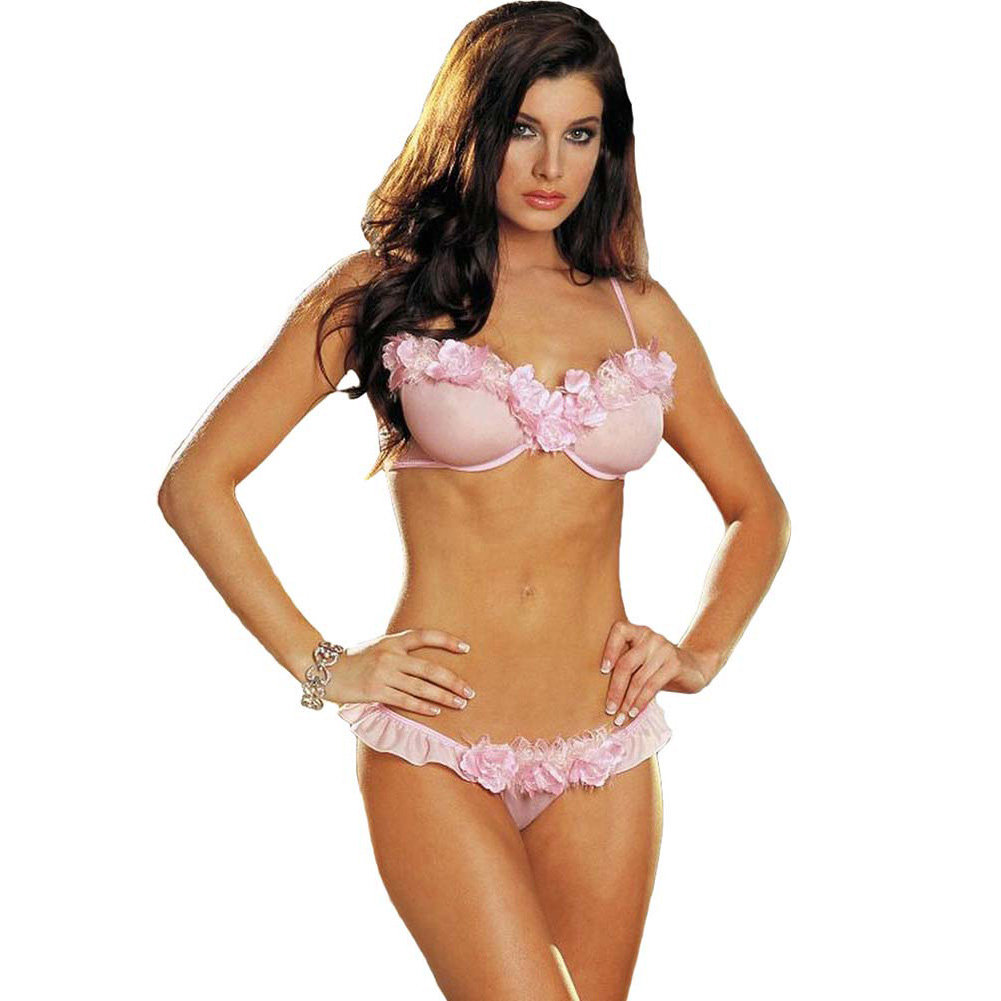 Dreamgirl Rose Trimmed Underwire Bra and Ruffled Thong Large Soft Pink - View #1
