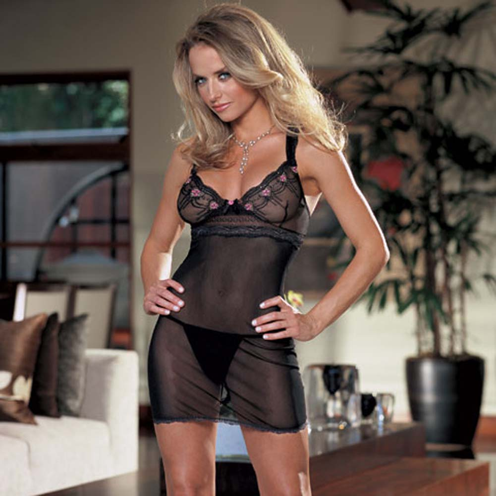 Embroidered Mesh Babydoll with Thong Medium Black and Pink - View #2