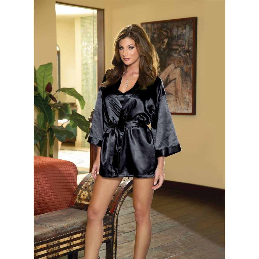 Dreamgirl Babydoll and Matching Robe with Padded Hanger Large Classic Black - View #4