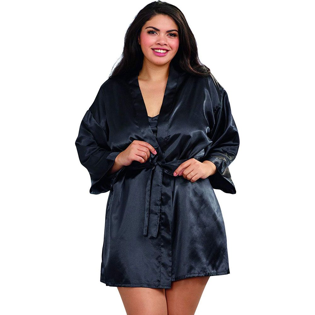 Dreamgirl Babydoll and Matching Robe with Padded Hanger 1X/2X Classic Black - View #1