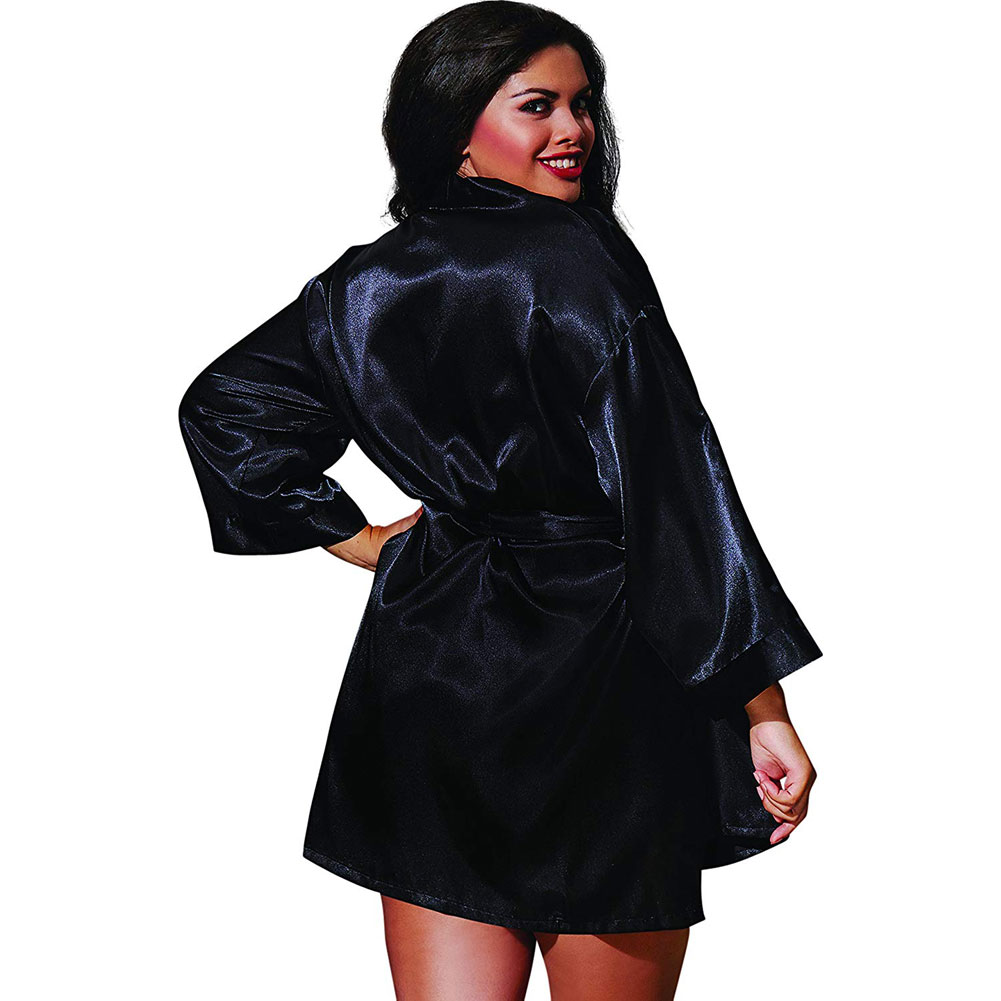 Dreamgirl Babydoll and Matching Robe with Padded Hanger 1X/2X Classic Black - View #2