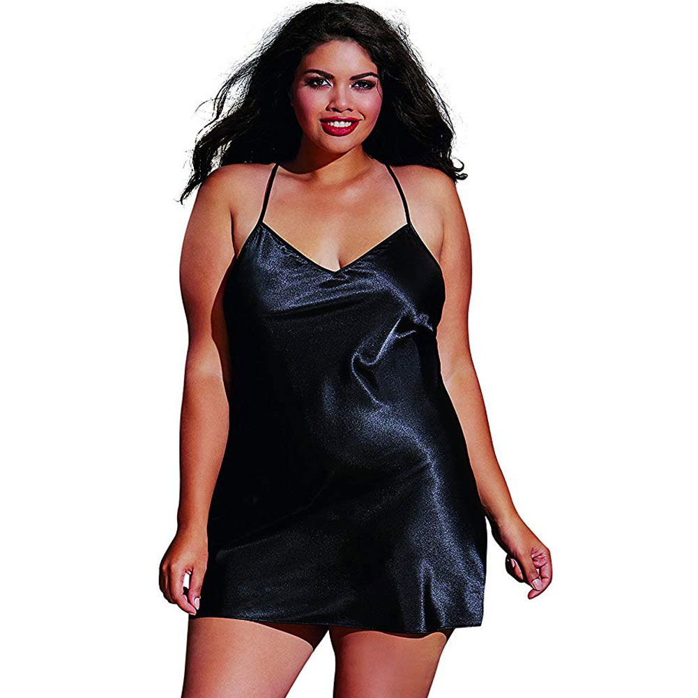 Dreamgirl Babydoll and Matching Robe with Padded Hanger 1X/2X Classic Black - View #3