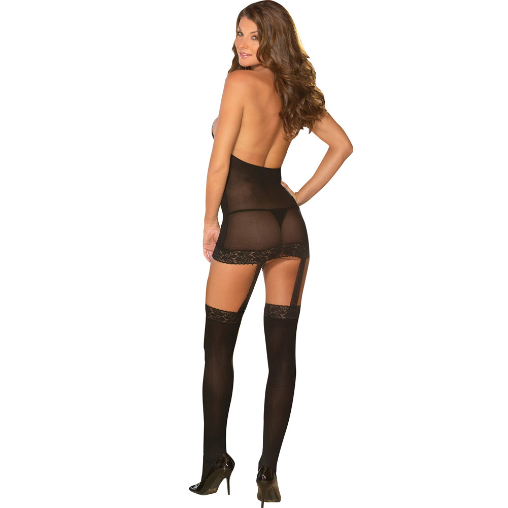Sheer to Please Garter Dress with Attached Stockings One Size Black - View #2