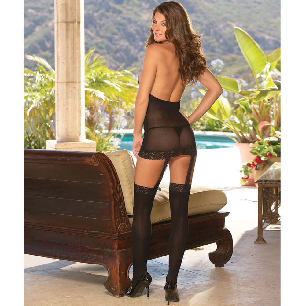 Sheer to Please Garter Dress with Attached Stockings One Size Black - View #3