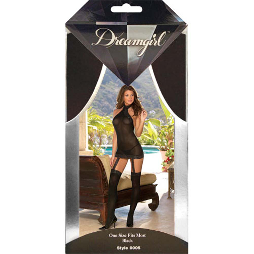 Sheer to Please Garter Dress with Attached Stockings One Size Black - View #4