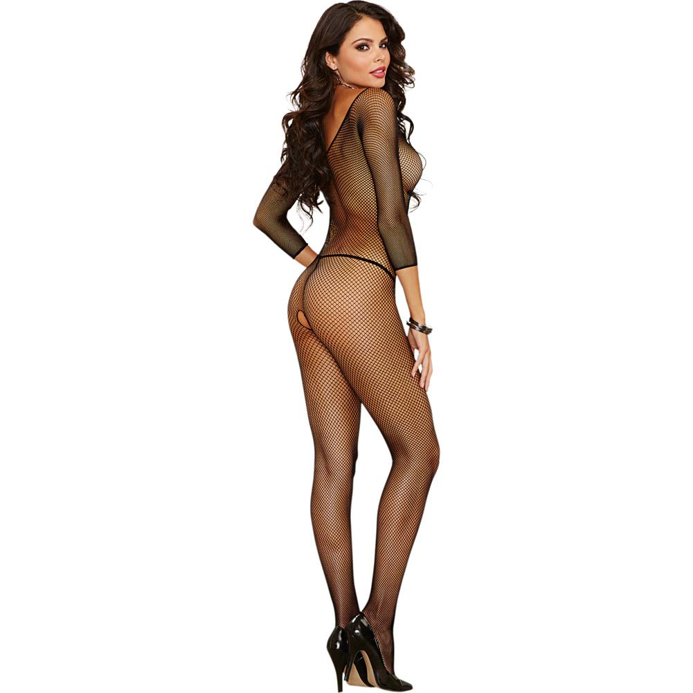 Amsterdam Fishnet Open Crotch Bodystocking One Size Black - View #2
