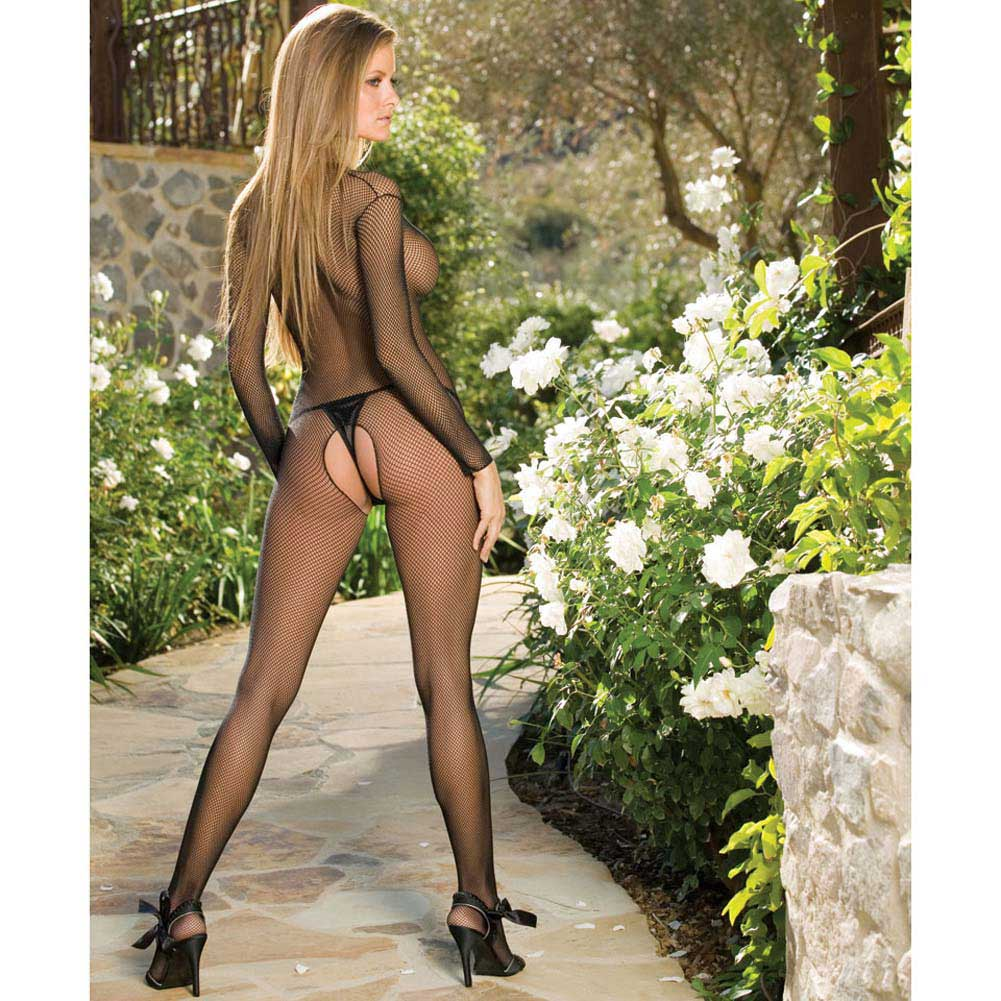 Amsterdam Fishnet Open Crotch Bodystocking One Size Black - View #3