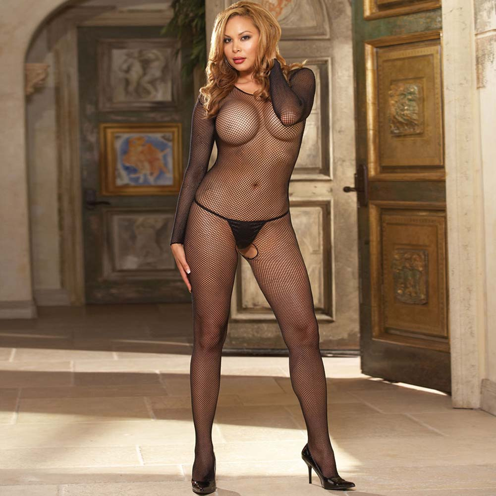 Amsterdam Fishnet Open Crotch Bodystocking Plus Size Black - View #3