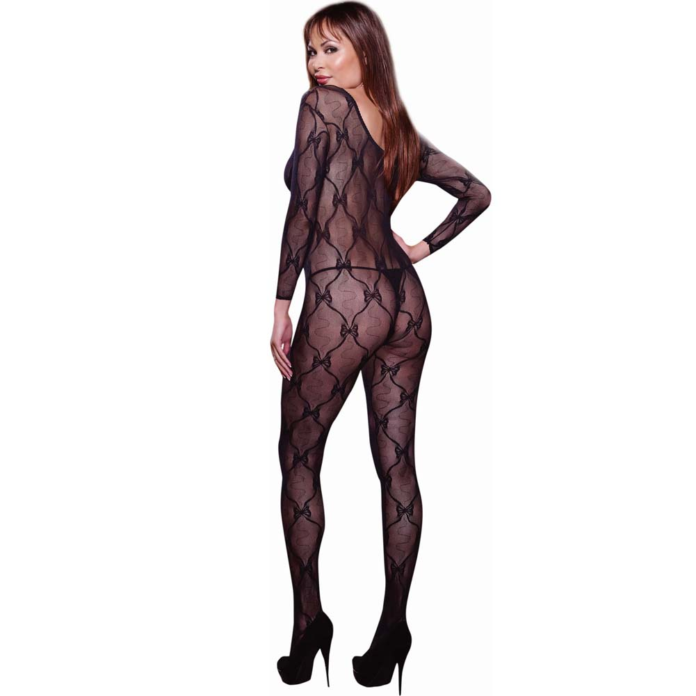 Ribbon and Bow Embroidered Crotchless Bodystocking Plus Size Black - View #2