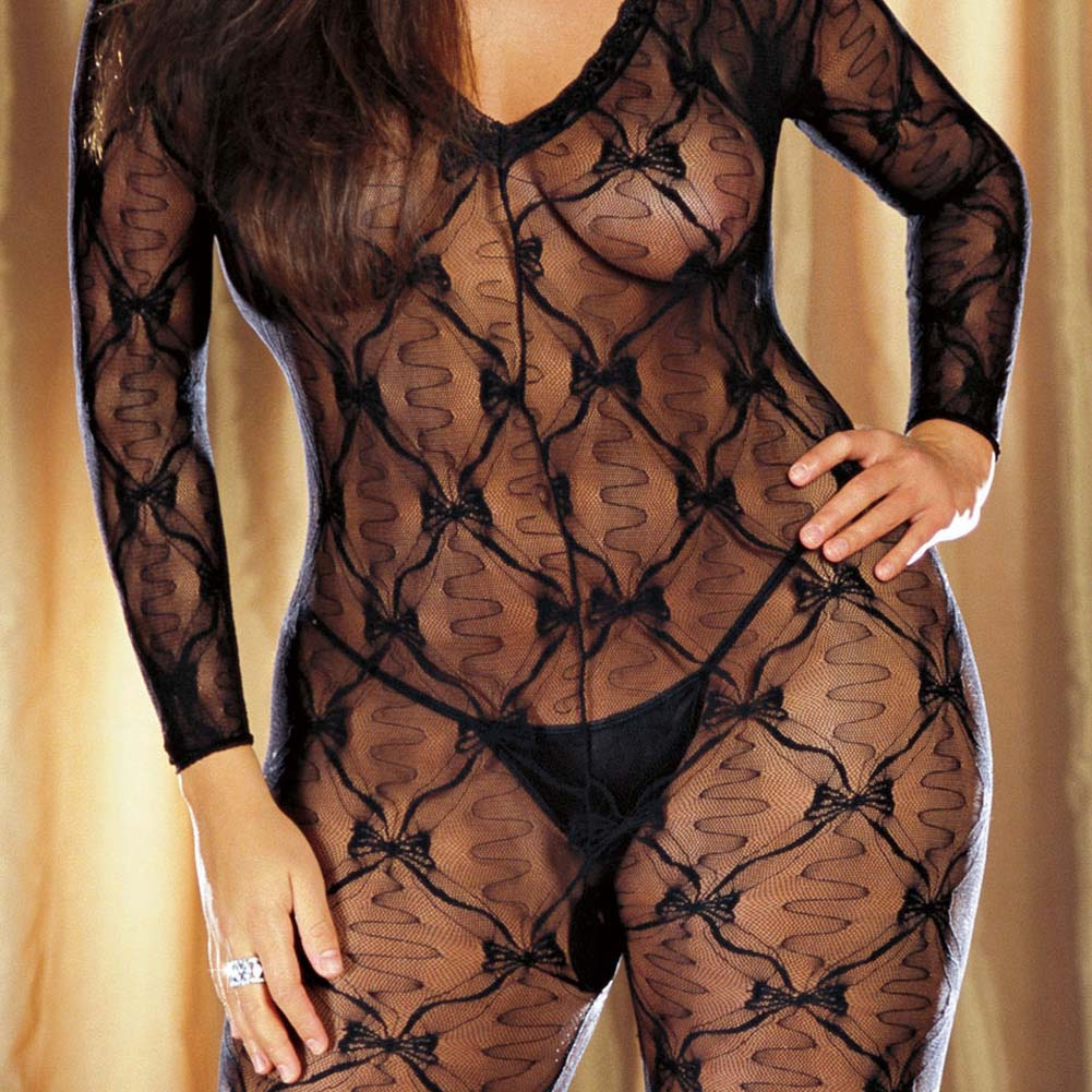 Ribbon and Bow Embroidered Crotchless Bodystocking Plus Size Black - View #3