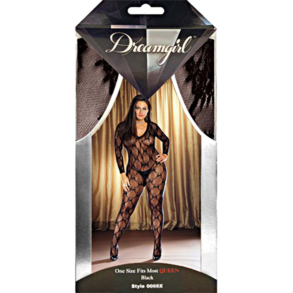 Ribbon and Bow Embroidered Crotchless Bodystocking Plus Size Black - View #4