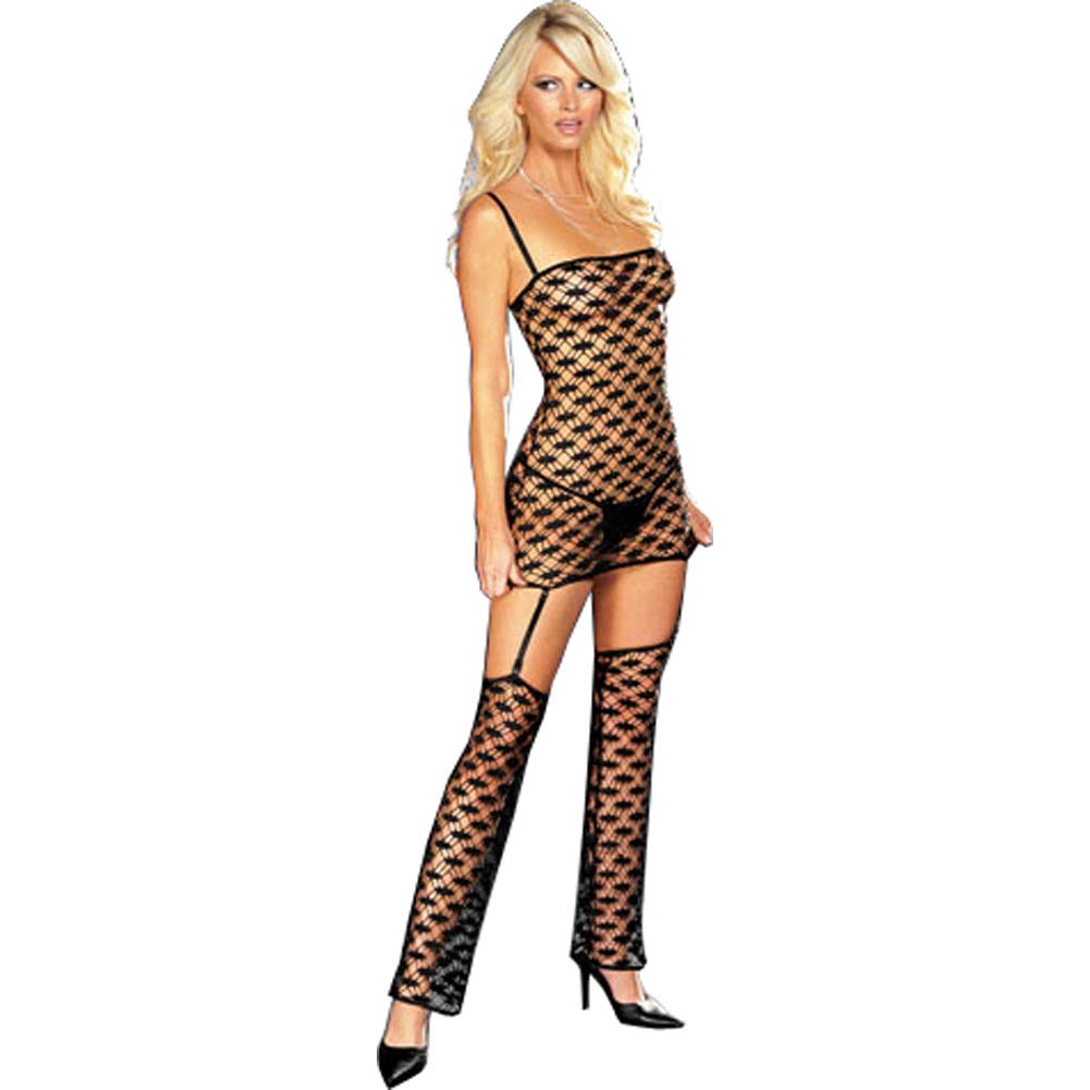 Net Garter Dress Set with Leggings and Thong Small Black - View #1
