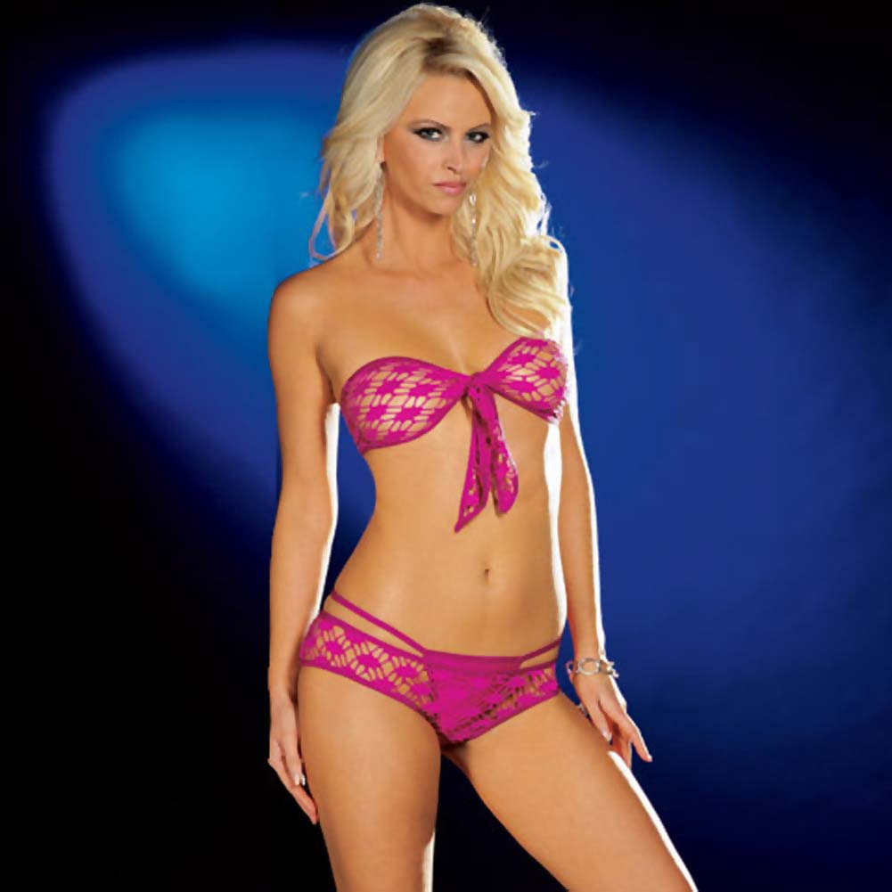 Dreamgirl Fishnet Tie Front Top with Shorts and Thong Large Hot Pink - View #3