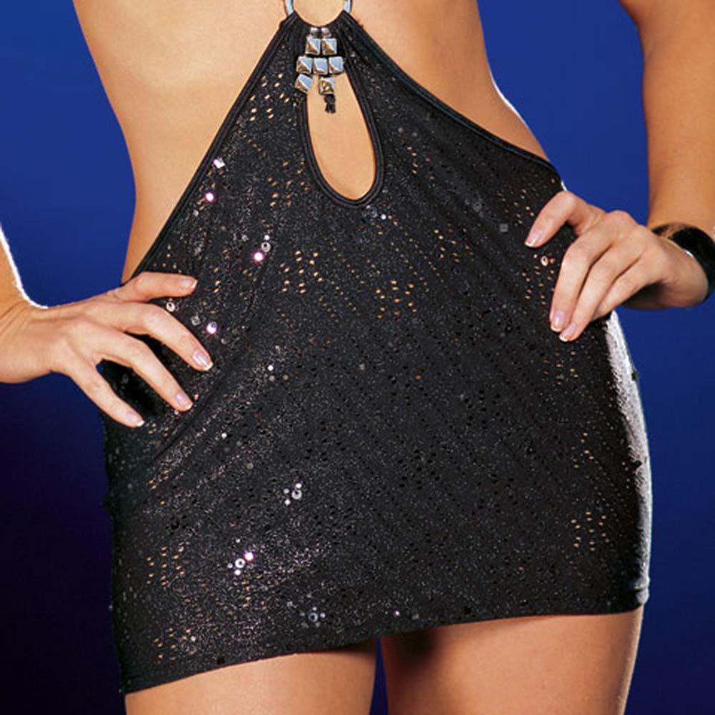Dreamgirl Lingerie You Wish Dress with Thong Large Black - View #4