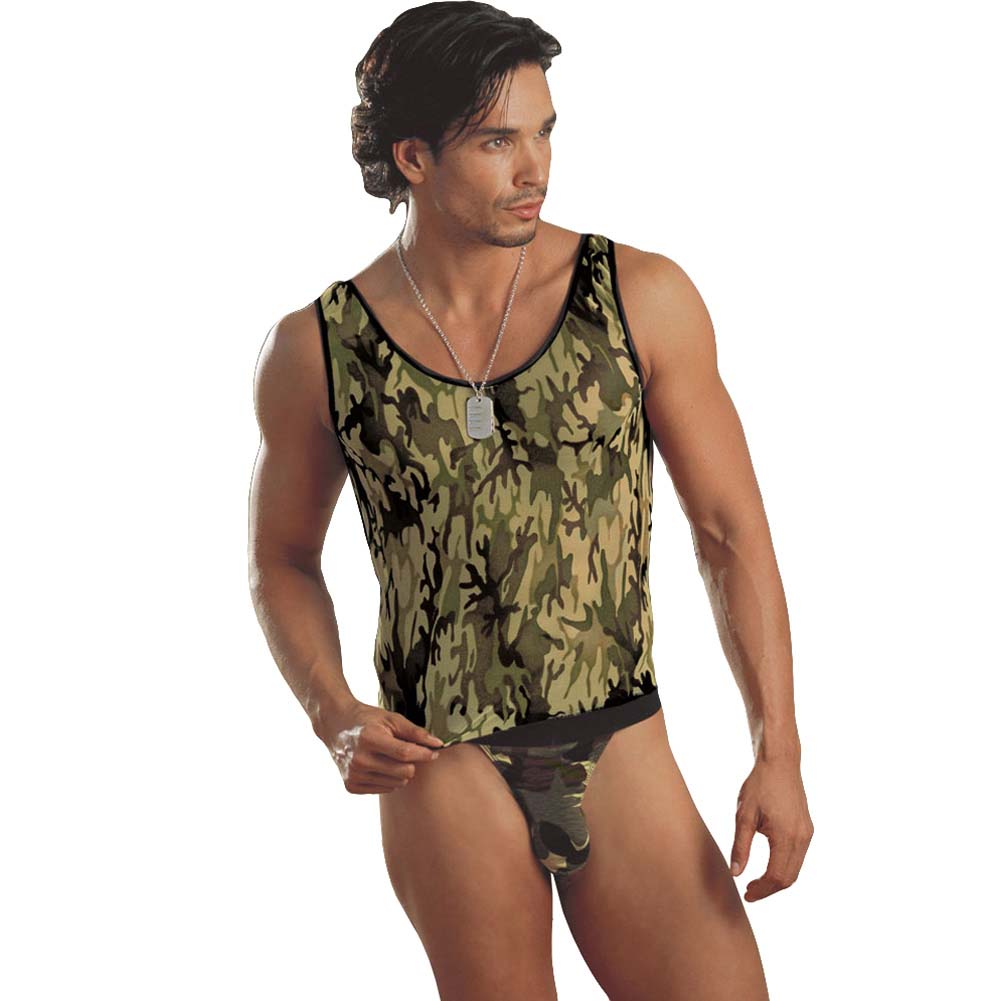 Camouflage Muscle Tank with Thong and Military Tag Medium/Large Camo - View #1