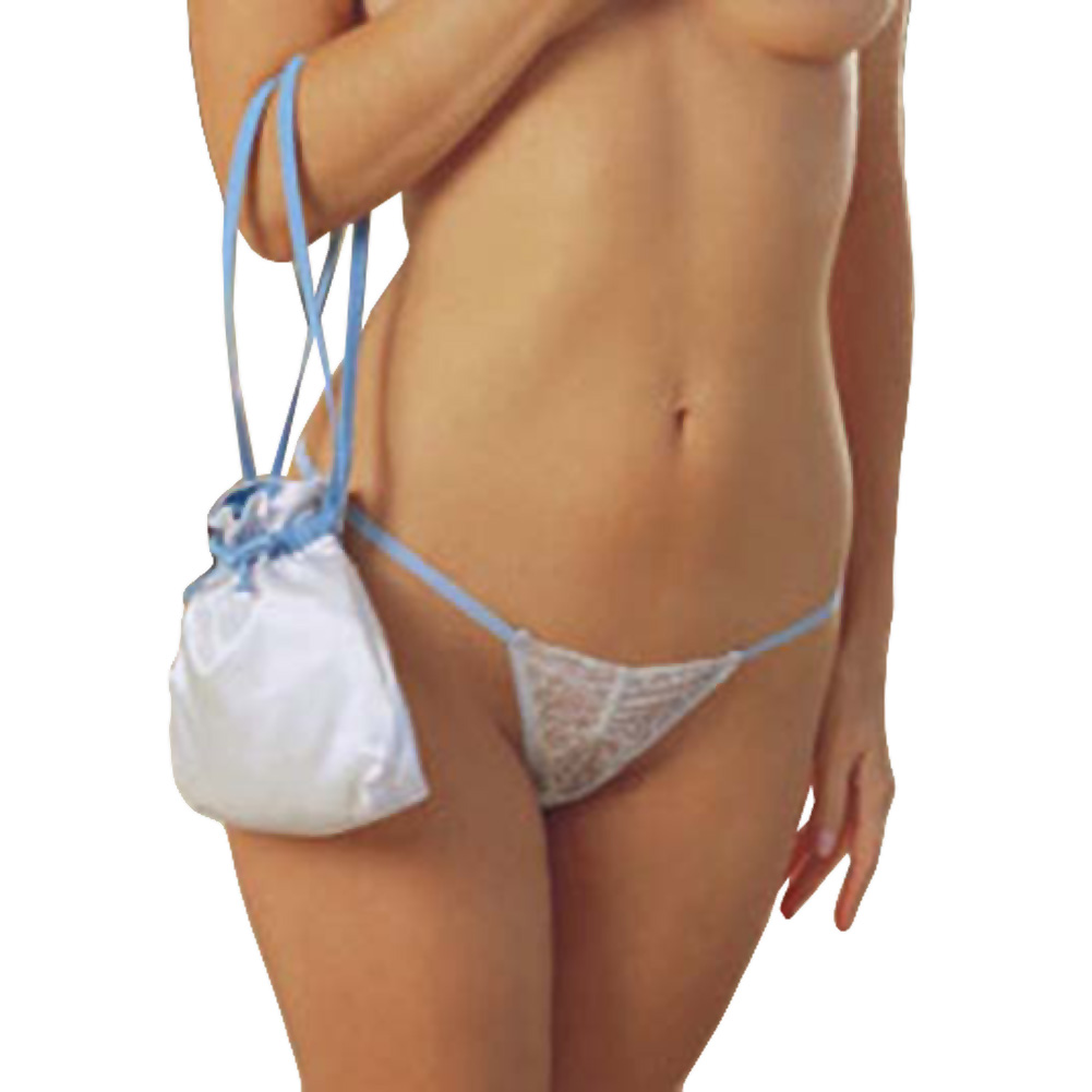 Bridal Ruched Lace G-String with Pouch White - View #1