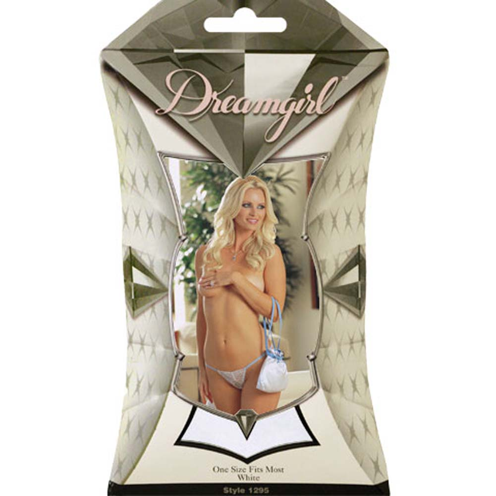 Bridal Ruched Lace G-String with Pouch White - View #4