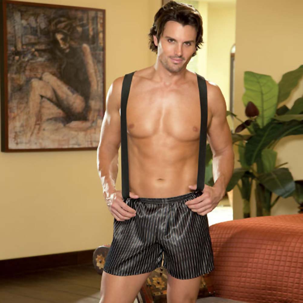 Dirty Business Boxer with Removable Suspenders Large/XLarge Black - View #3