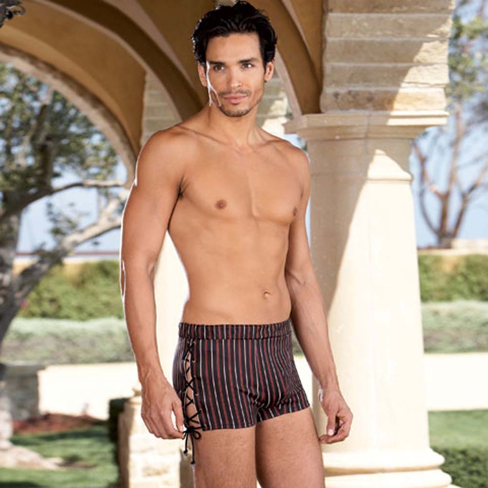 Slimming Stripe Boxer with Lace Up Sides Medium/Large - View #1