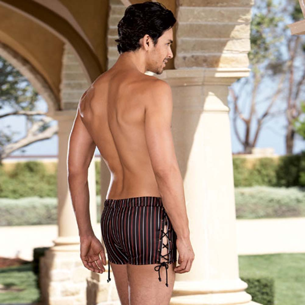 Slimming Stripe Boxer with Lace Up Sides Large/XLarge - View #2