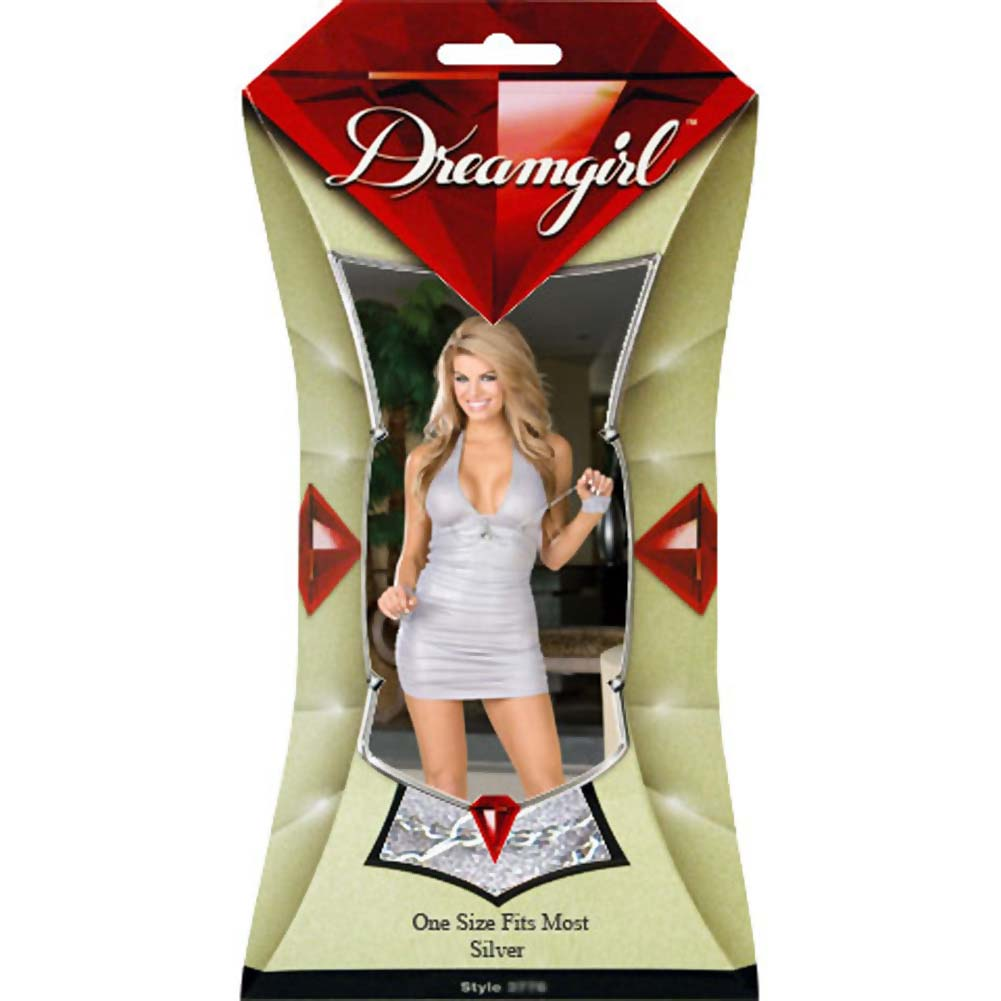 Dreamgirl Pleasure Victim Chemise with Panty and Play Cuffs One Size Silver - View #4
