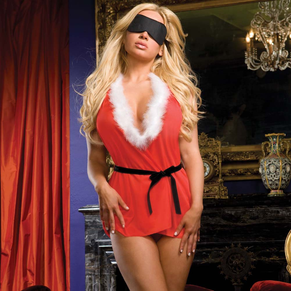 Naughty List Nightie with Marabou Collar and Mask One Size Red - View #3