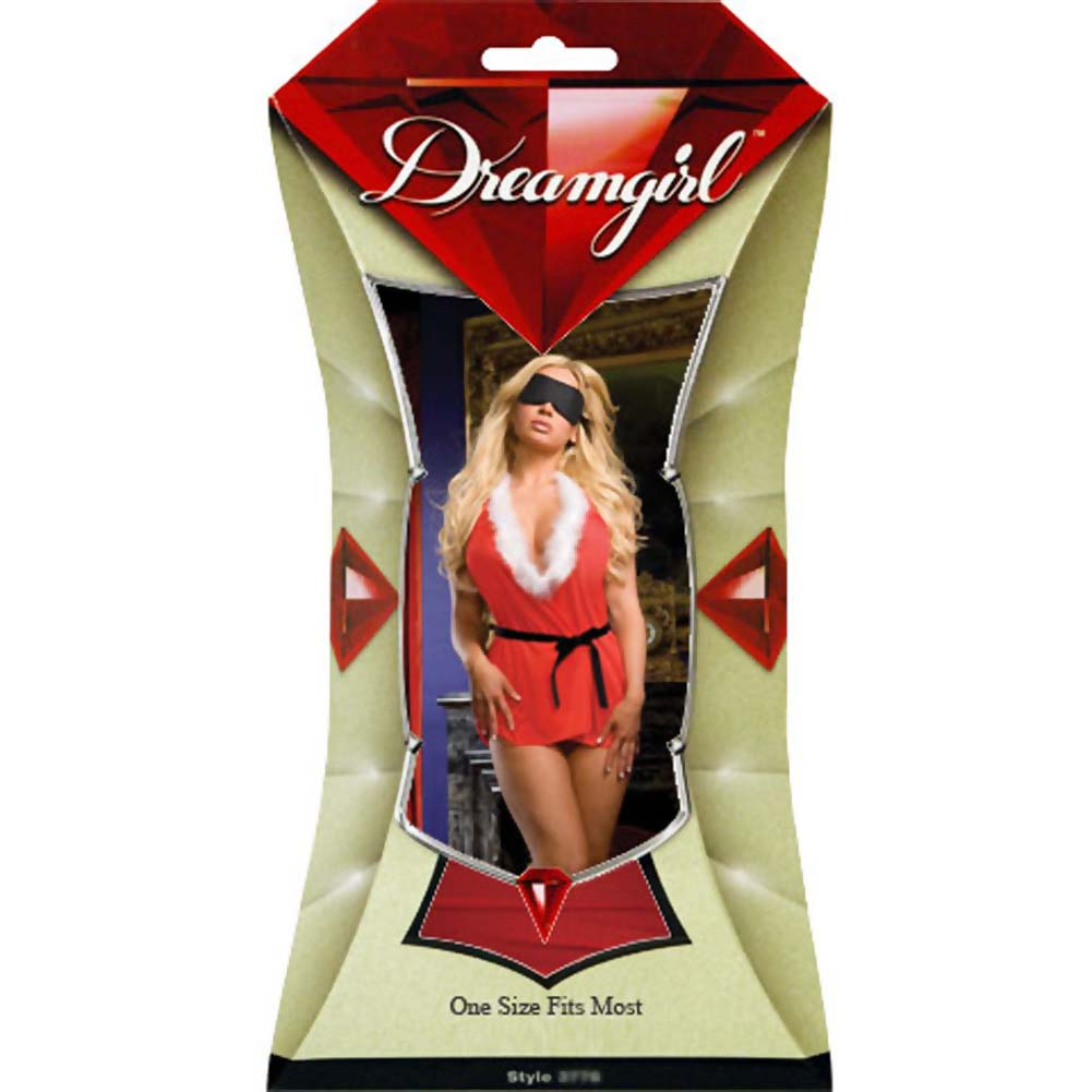Naughty List Nightie with Marabou Collar and Mask One Size Red - View #4