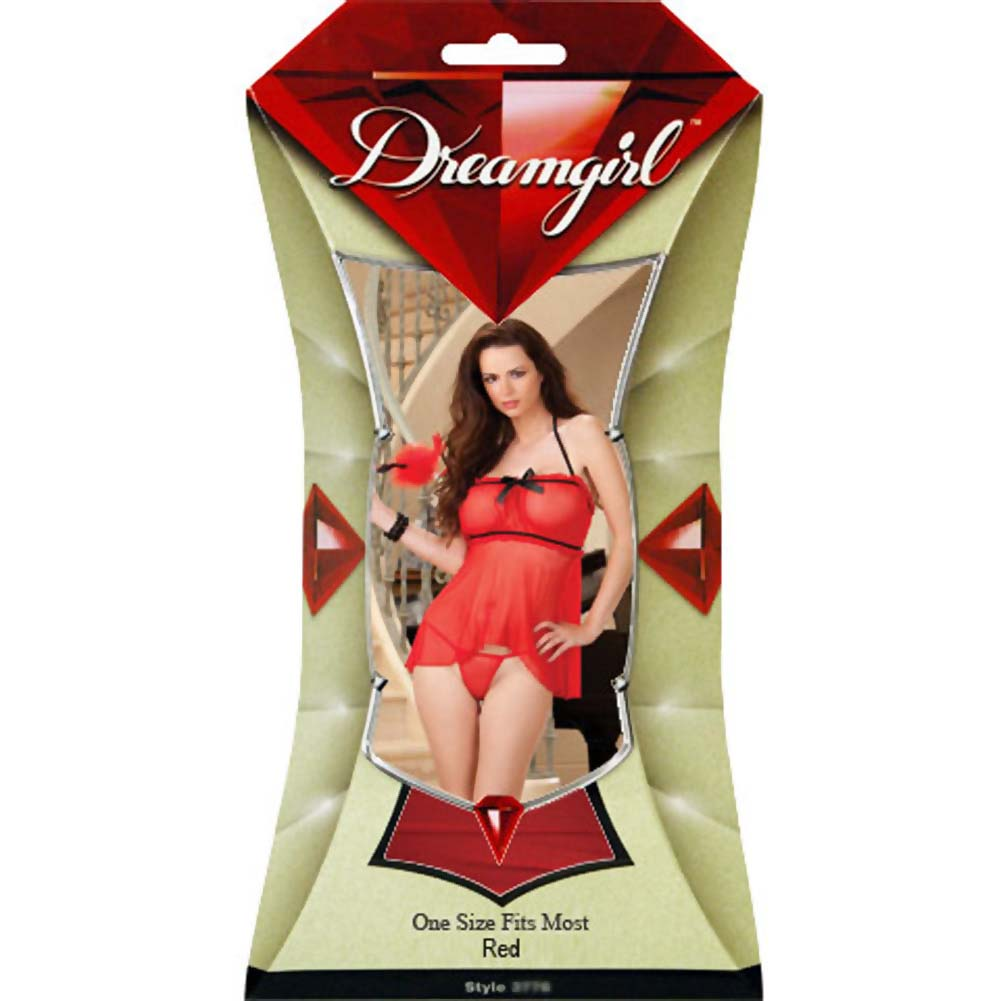 Tickle Me Fun Flyaway Back Babydoll with Tickler One Size Red - View #4