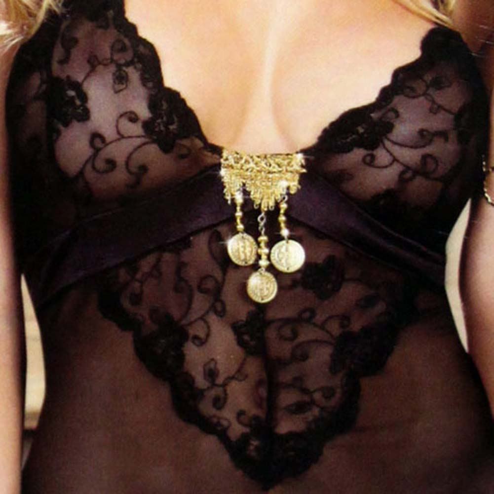 Dreamgirl Lingerie Gold Charm Chemise and Panty Set with DVD Black - View #3